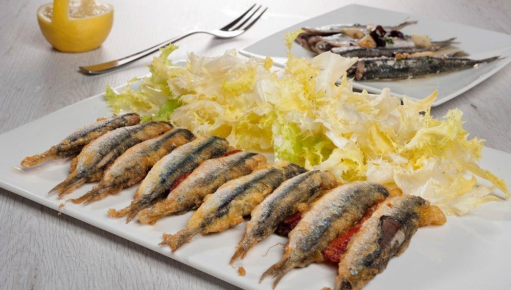 Rebozado de anchoa y pimiento frito