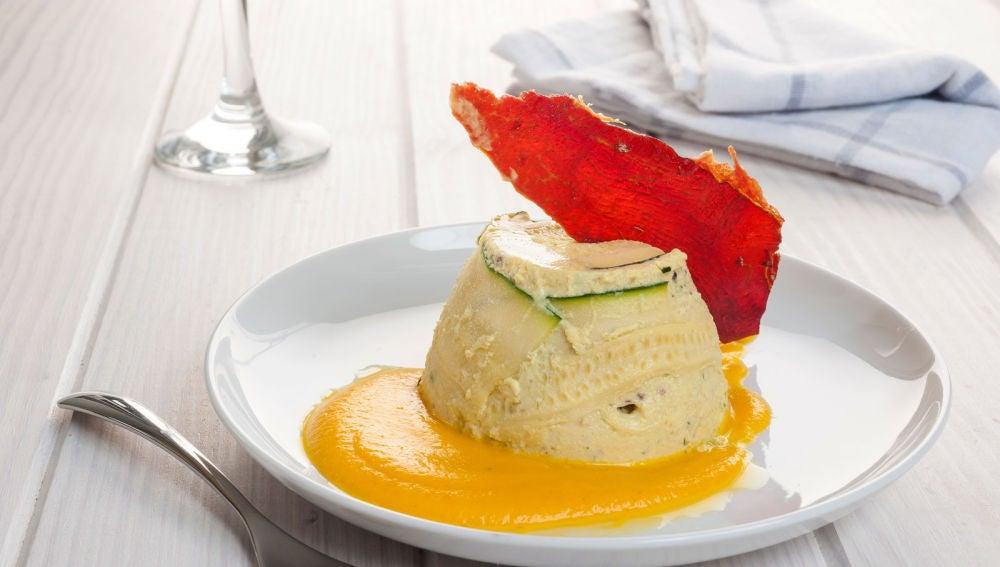 Flan de calabacín con crujiente de jamón