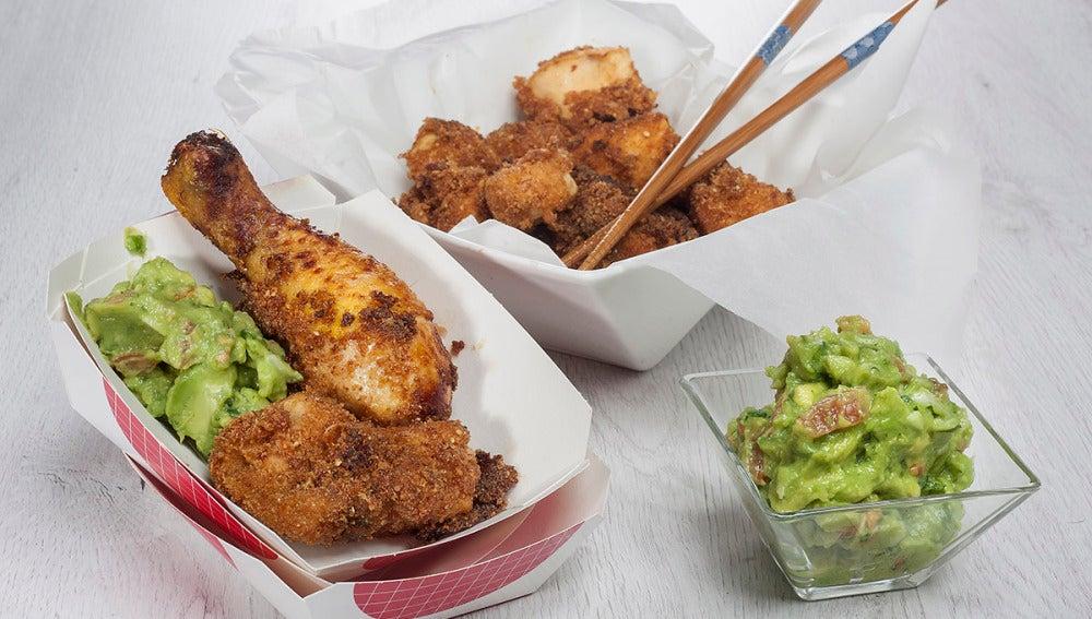 Pollo frito con guacamole