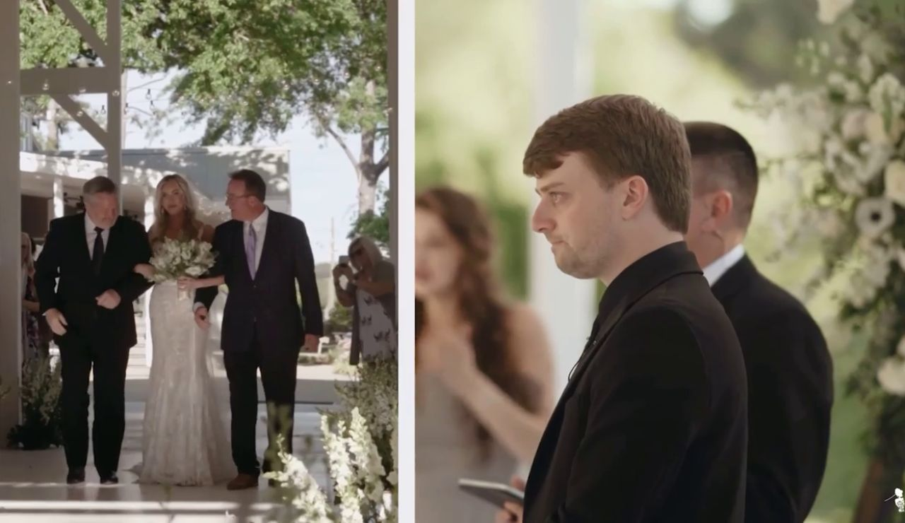 El padre de esta novia invita al padrastro de su hija para que los acompañe al altar y el emotivo vídeo se ha vuelto viral